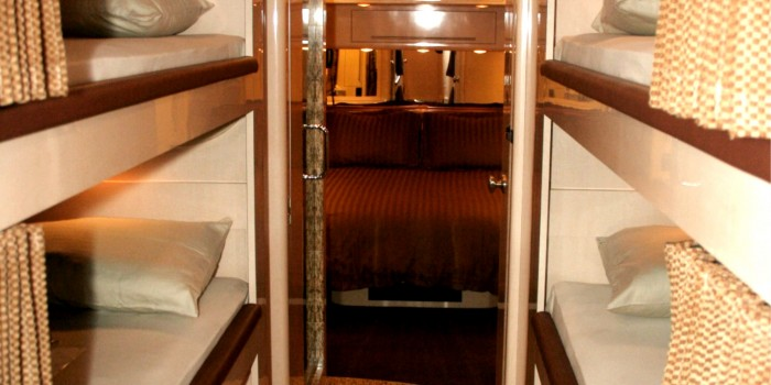 Bunks for family or friends. These bunks can be adjusted to accommodate from 4 to 6 people.