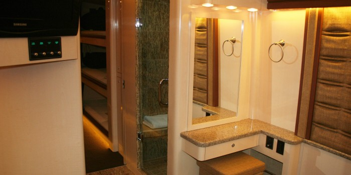 a view of the shower and second lavatory in the rear stateroom