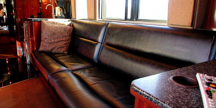 leather sofa in the front lounge