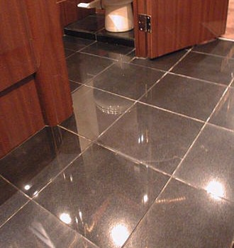 Tile floor in the galley area of the front lounge