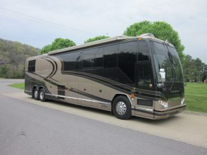 this coach has a new engine, transmission, and radiator that were installed last year and still under warranty