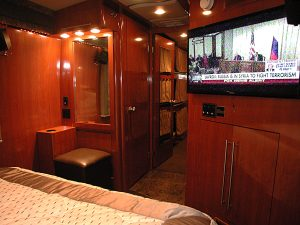 Rear stateroom makeup area and TV