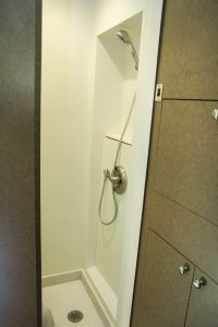 Private shower and lavatory in the trailer provides an opportunity to freshen up on site