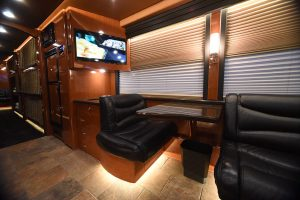 Three TV's in two separate lounges, both with their own Direct TV/DVR satellite in-motion tracking satellite receivers. Spacious above in the coach and below in the bays. for further information on this coach you can contact me at: Russ jeffers 615-477-5232 or email me at russ@hemphillbrothers.com