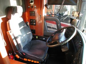 Drivers area for this 2004 Prevost coach