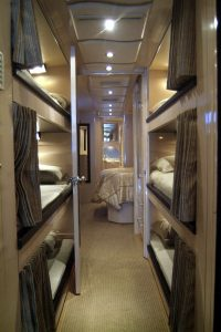 There are 6 bunks in the midsection of the coach
