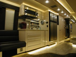 Galley with side by side refrigerator/Freezer, sink, microwave, storage drawers and cabinets