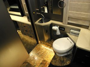 Private bathroom with shower in the rear stateroom