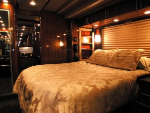 Big queen size bed in the slideout in the rear stateroom