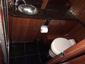 Private bathroom and shower in the rear stateroom