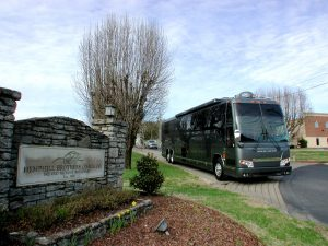 Now for sale. A 2004 Prevost H3-45 VIP entertainer coach with 6 bunks, 2 bathrooms, 6 bunks, and a shower.