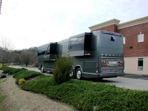 2004 Prevost double slide currently at our facility. Available now. Sleeps 6 plus a queen size bed in the rear stateroom