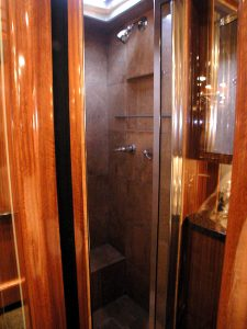closer look at the shower in the rear stateroom