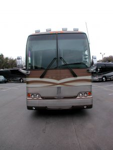 Front view of the exterior of this 2005 Prevost Motorcoach