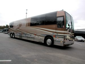 Now for sale: A 2005 prevost XLII custom touring coach with an interior build by the Hemphill Brothers coach company of Whites creek, Tennessee