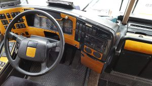 Wood grain look for the dash and controls in easy reach of the driver for the interior conversion