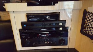 front lounge electronics: X box 360, Sony BluRay 3D wireless lan built-in,Yamaha natural sound AV receiver, Direct TV receiver, In-motion tracking satellite, and 5-speaker surround sound.